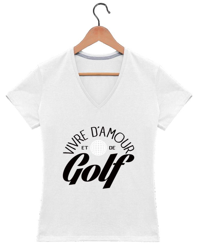 Camiseta Mujer Cuello en V Vivre d'Amour et de Golf por Freeyourshirt.com