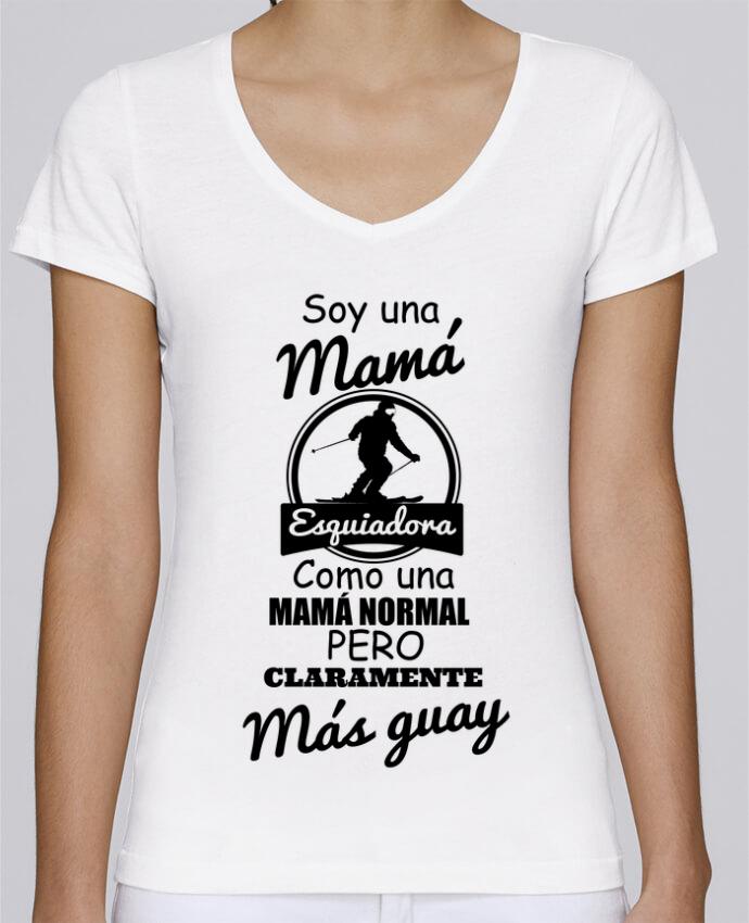 Camiseta Mujer Cuello en V Stella Chooses Mamá esquiadora por tunetoo