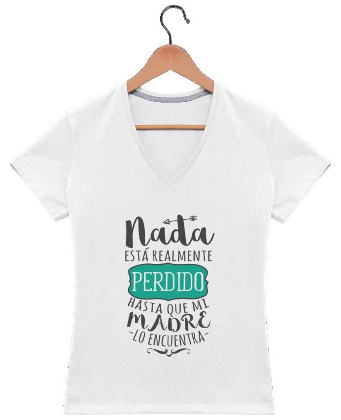 Camiseta Mujer Cuello en V Nada está perdido por tunetoo