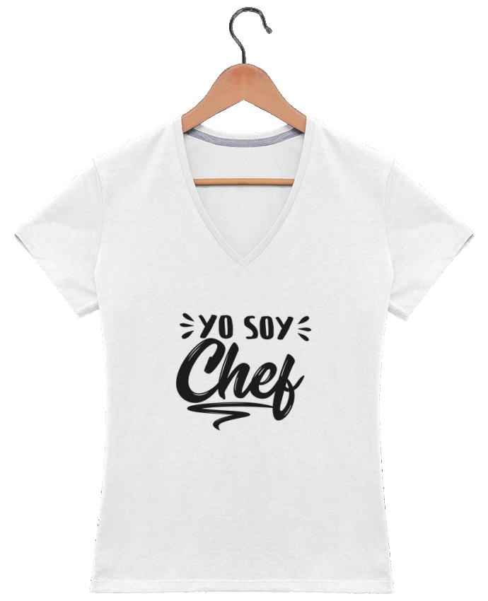 Camiseta Mujer Cuello en V soy chef por tunetoo