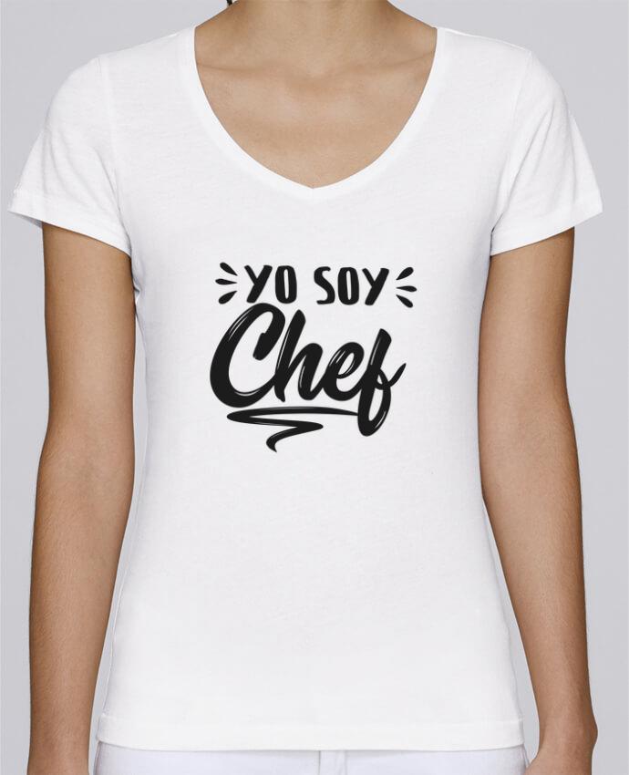 Camiseta Mujer Cuello en V Stella Chooses soy chef por tunetoo