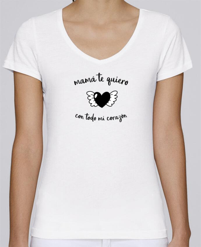 Camiseta Mujer Cuello en V Stella Chooses con todo mi corazón por tunetoo