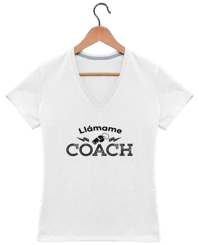 Camiseta Mujer Cuello en V Llámame Coach por tunetoo