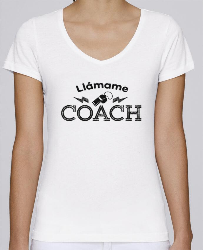 Camiseta Mujer Cuello en V Stella Chooses Llámame Coach por tunetoo