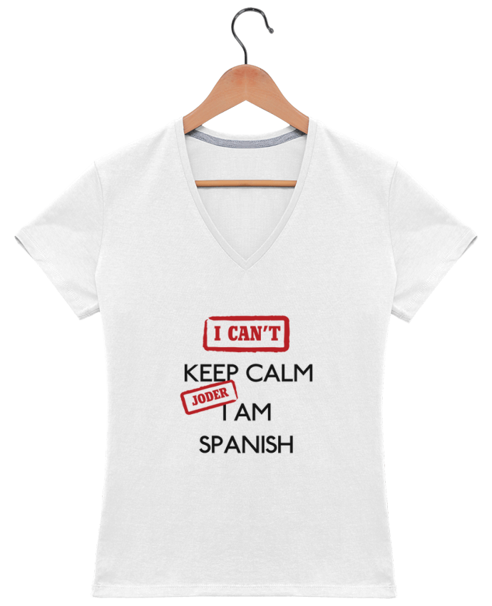 Camiseta Mujer Cuello en V I can't keep calm jorder I am spanish por tunetoo
