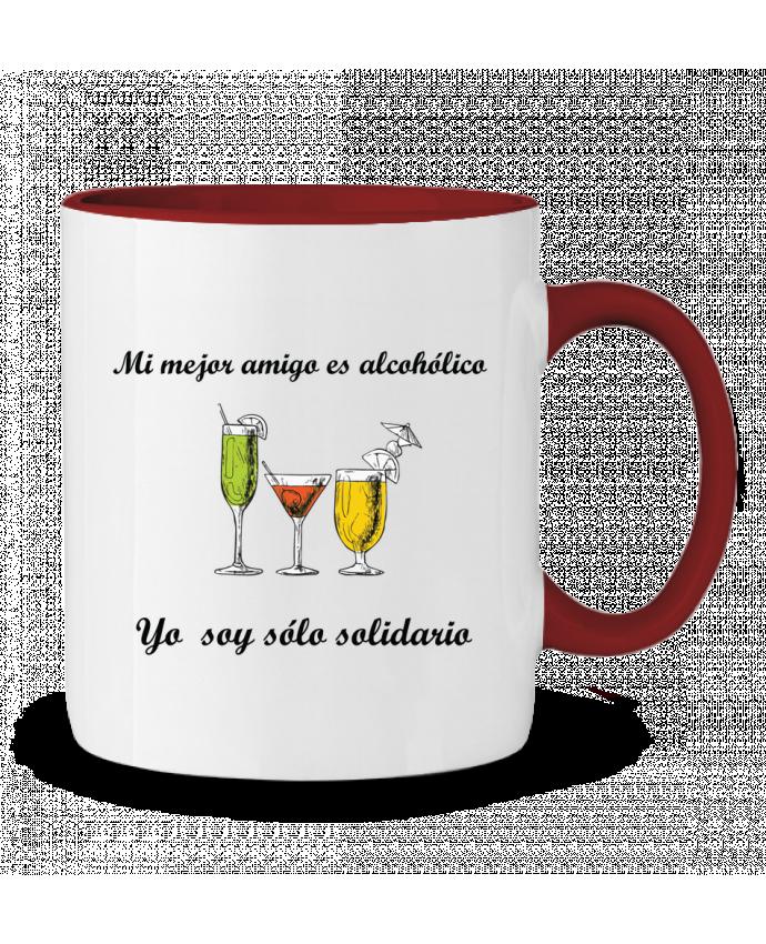 Taza Cerámica Bicolor Mi mejor amigo es alcohólico, yo soy sólo solidario tunetoo
