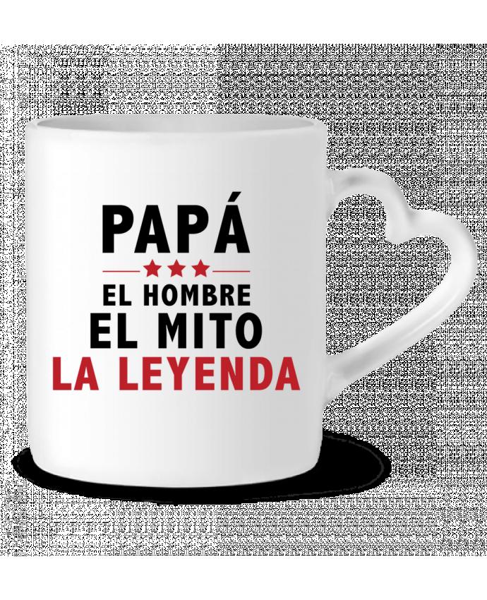 Taza Corazón PAPÁ : EL HOMBRE EL MITO LA LEYENDA por tunetoo