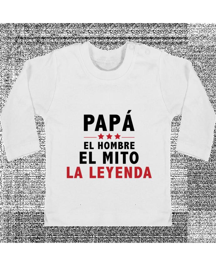 Camiseta Bebé Manga Larga con Botones  PAPÁ : EL HOMBRE EL MITO LA LEYENDA manches longues du designer tunetoo