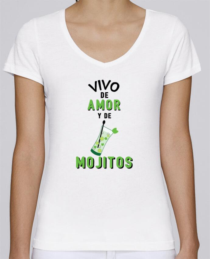 Camiseta Mujer Cuello en V Stella Chooses Vivo de amor y de mojitos por tunetoo