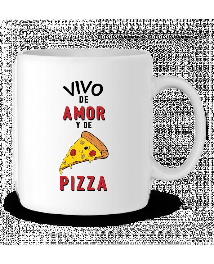 Taza Cerámica Vivo de amor y de pizza por tunetoo
