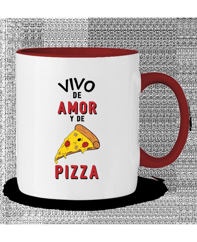 Taza Cerámica Bicolor Vivo de amor y de pizza tunetoo