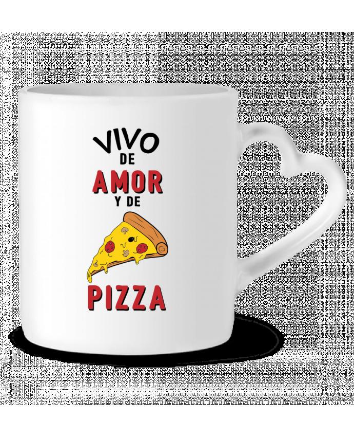 Taza Corazón Vivo de amor y de pizza por tunetoo