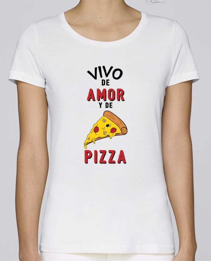 Camiseta Mujer Stellla Loves Vivo de amor y de pizza por tunetoo