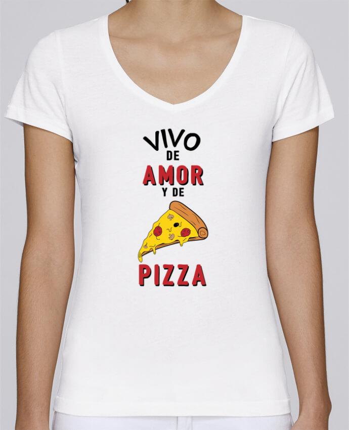 Camiseta Mujer Cuello en V Stella Chooses Vivo de amor y de pizza por tunetoo