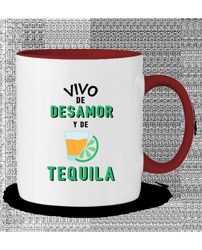 Taza Cerámica Bicolor Vivo de desamor y de tequila tunetoo