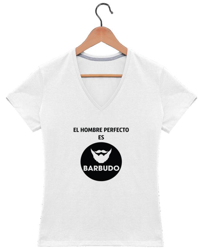 Camiseta Mujer Cuello en V El hombre perfecto es barbudo por tunetoo