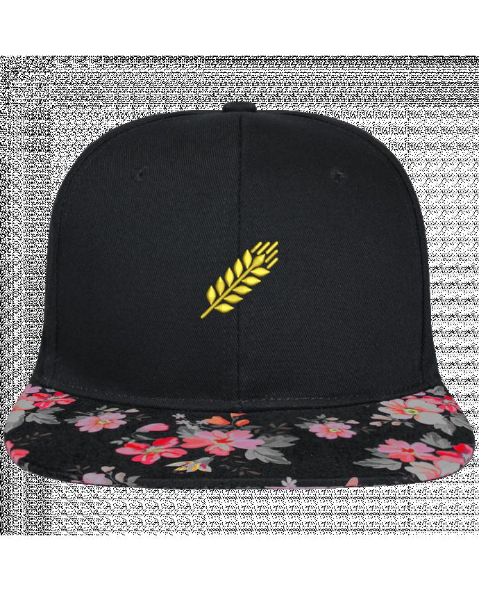 Gorra Snapback Visera Flor Negra Blé brodé et visière à motifs 100% polyester et toile coton