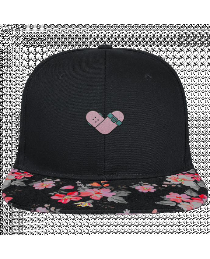 Gorra Snapback Visera Flor Negra Coeur skate brodé et visière à motifs 100% polyester et toile coton