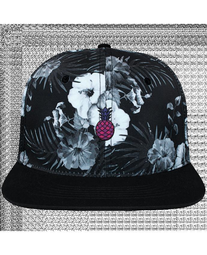 Gorra Snapback Diseño Hawai Ananas violet brodé et toile imprimée motif floral noir et bl