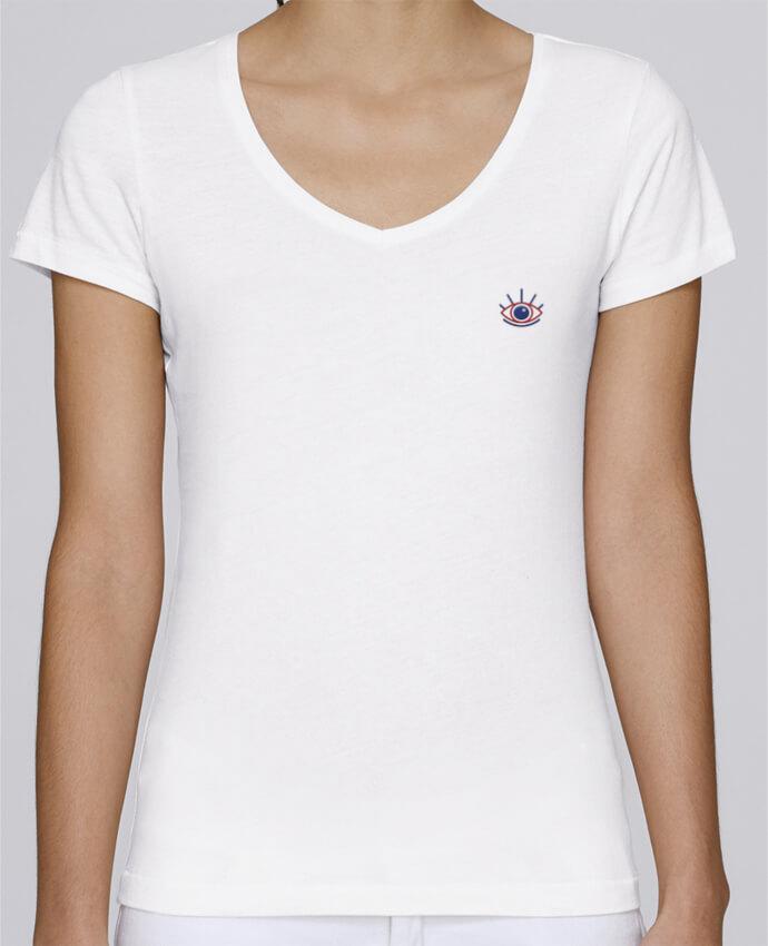 T-shirt femme brodé Stella Chooses Oeil por tunetoo
