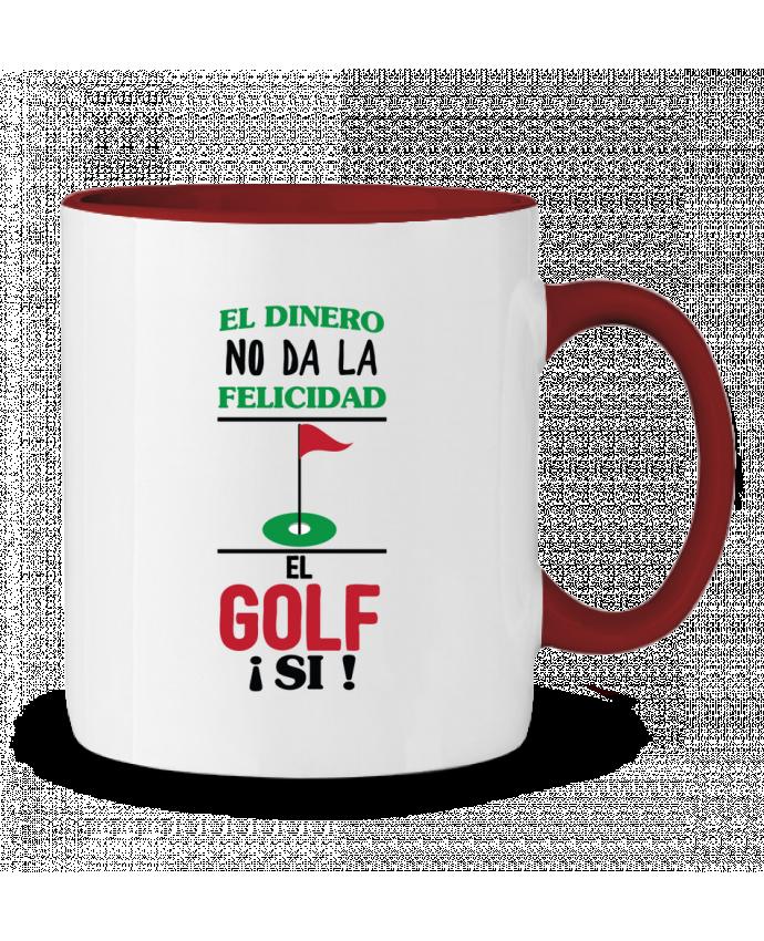 Taza Cerámica Bicolor El dinero no da la felicidad, el golf si ! tunetoo