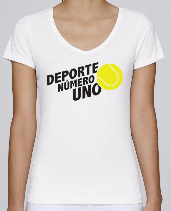 Camiseta Mujer Cuello en V Stella Chooses Deporte Número Uno Tennis por tunetoo