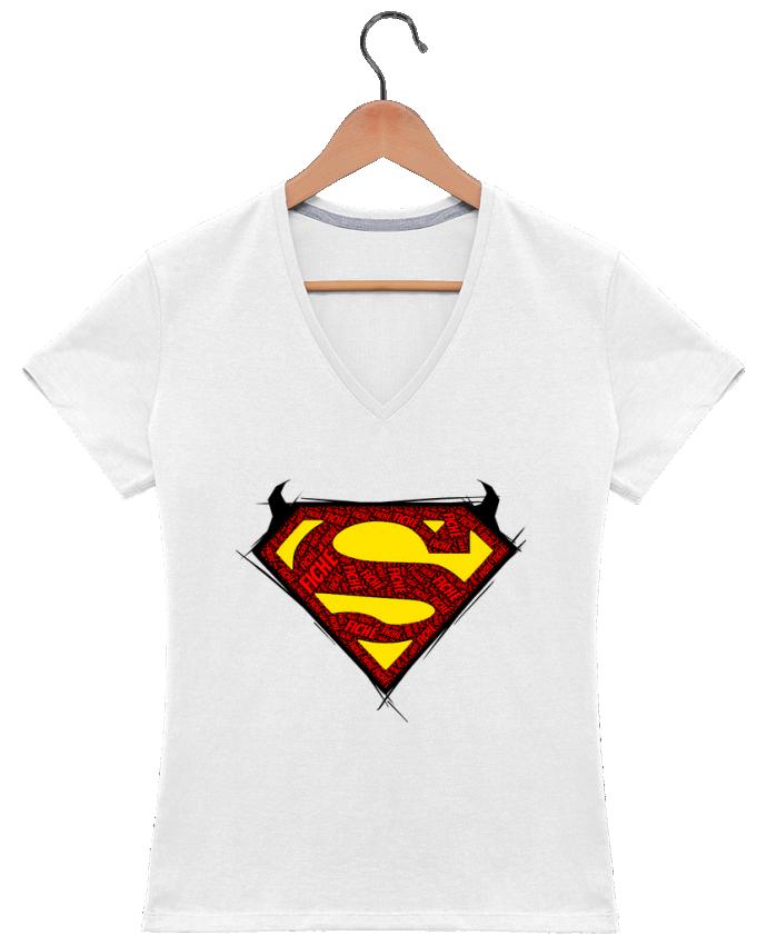 Camiseta Mujer Cuello en V Super Fiché por Dontuch