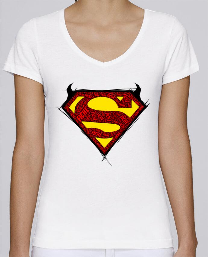 Camiseta Mujer Cuello en V Stella Chooses Super Fiché por Dontuch