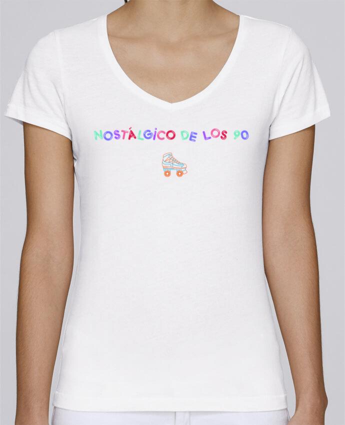 Camiseta Mujer Cuello en V Stella Chooses Nostálgico de los 90 Patines por tunetoo