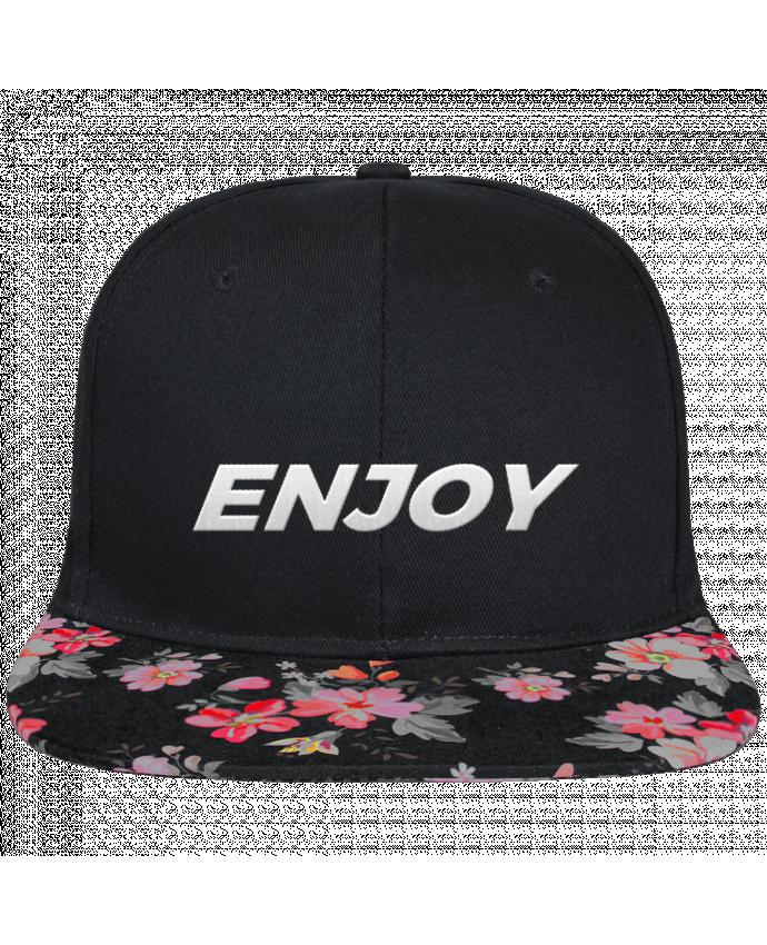 Gorra Snapback Visera Flor Negra Enjoy brodé et visière à motifs 100% polyester et toile coton