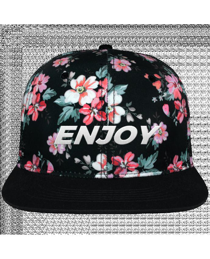 Gorra Snapback Corona Diseño Floral Negro Enjoy brodé avec toile motif à fleurs 100% polyester et visière noir