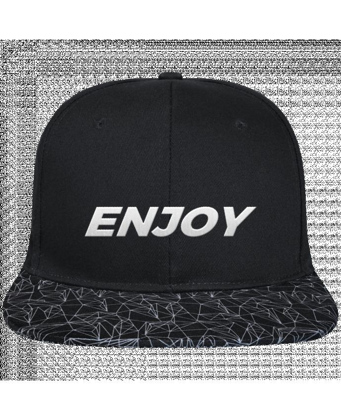 Gorra Snapback Visera Diseño Geométrico Negro Enjoy brodé avec toile noire 100% coton et visière imprimée 100%