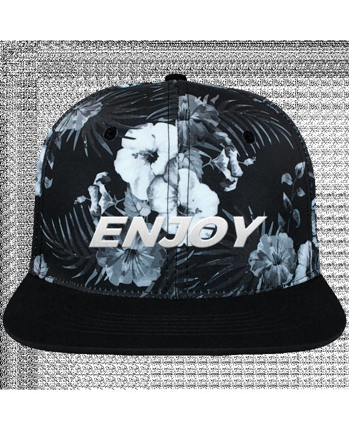 Gorra Snapback Diseño Hawai Enjoy brodé et toile imprimée motif floral noir et blanc