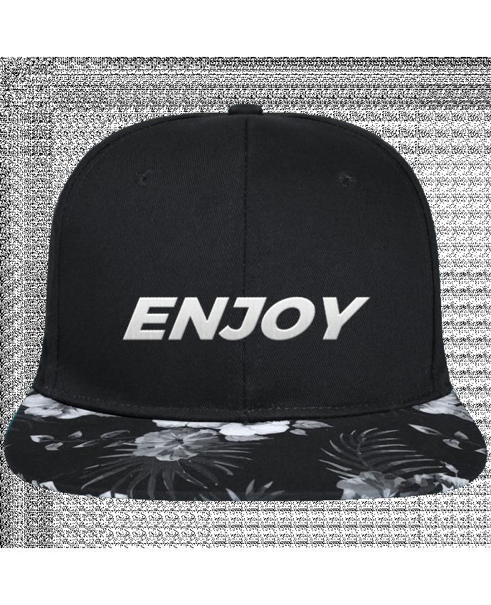 Gorra Snapback Visera Flor Hawai Enjoy brodé avec toile noire 100% coton et visière imprimée fleurs 100% poly