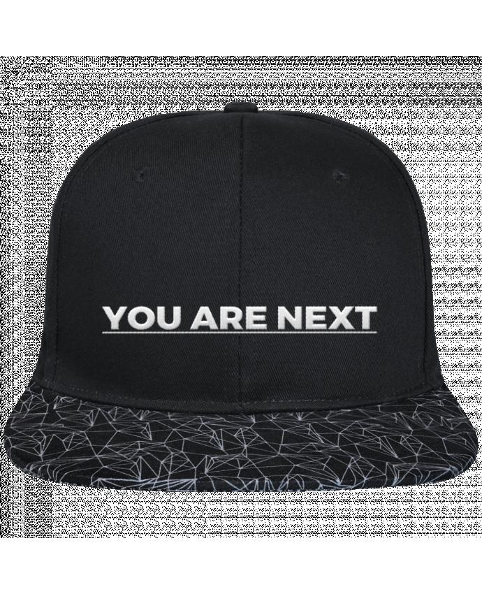 Gorra Snapback Visera Diseño Geométrico Negro You are next brodé avec toile noire 100% coton et visière imprimé