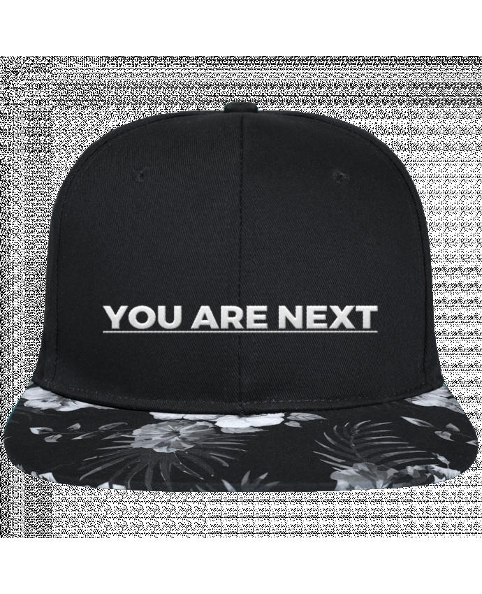 Gorra Snapback Visera Flor Hawai You are next brodé avec toile noire 100% coton et visière imprimée fleurs 10