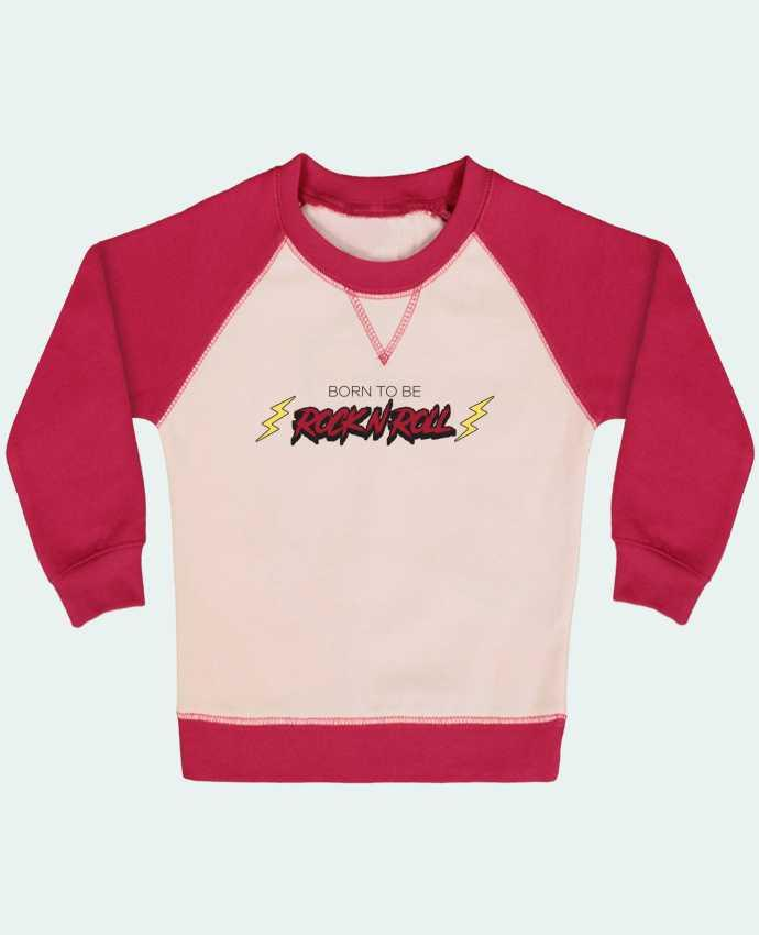 Sudadera Bebé Cuello Redondo Mangas Contraste Born to be rock n roll por tunetoo