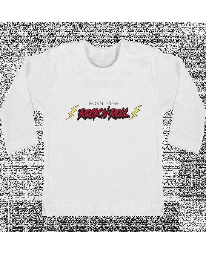 Camiseta Bebé Manga Larga con Botones  Born to be rock n roll manches longues du designer tunetoo