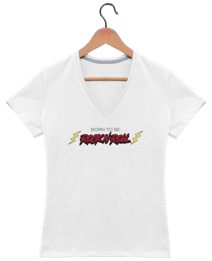 Camiseta Mujer Cuello en V Born to be rock n roll por tunetoo