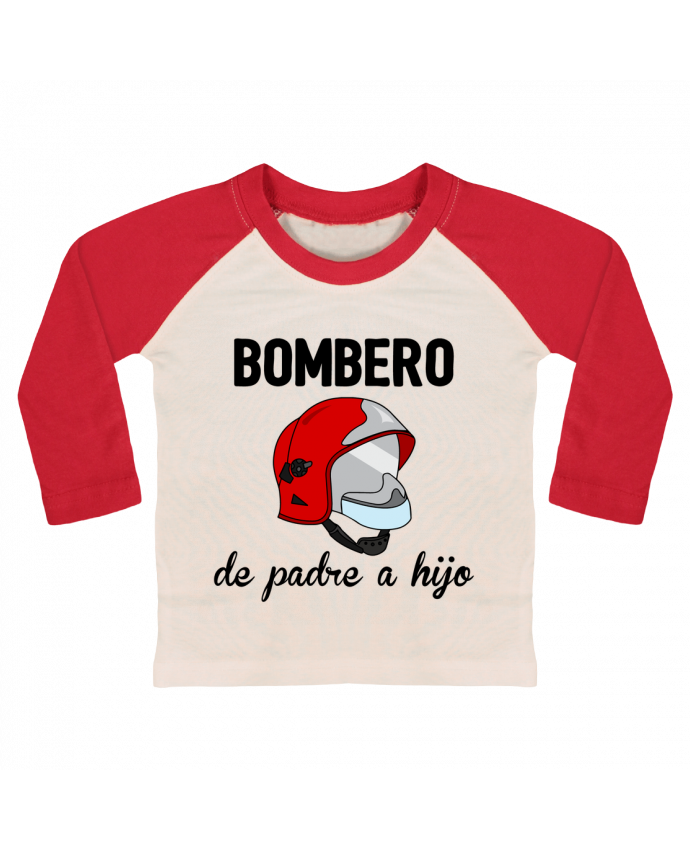Camiseta Bebé Béisbol Manga Larga Bombero de padre a hijo por tunetoo