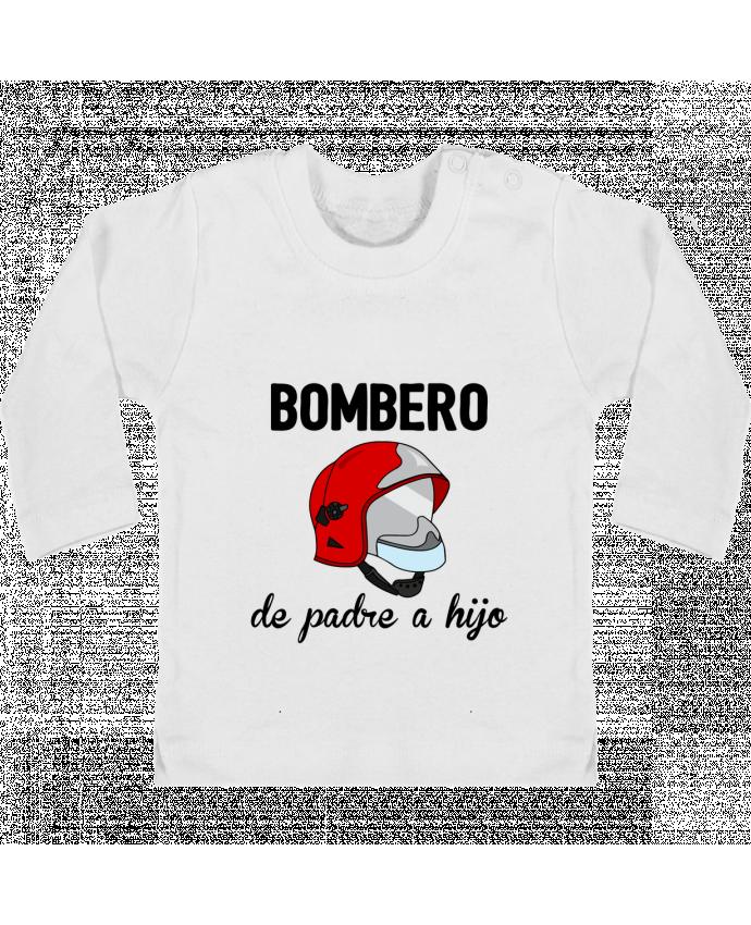 Camiseta Bebé Manga Larga con Botones  Bombero de padre a hijo manches longues du designer tunetoo