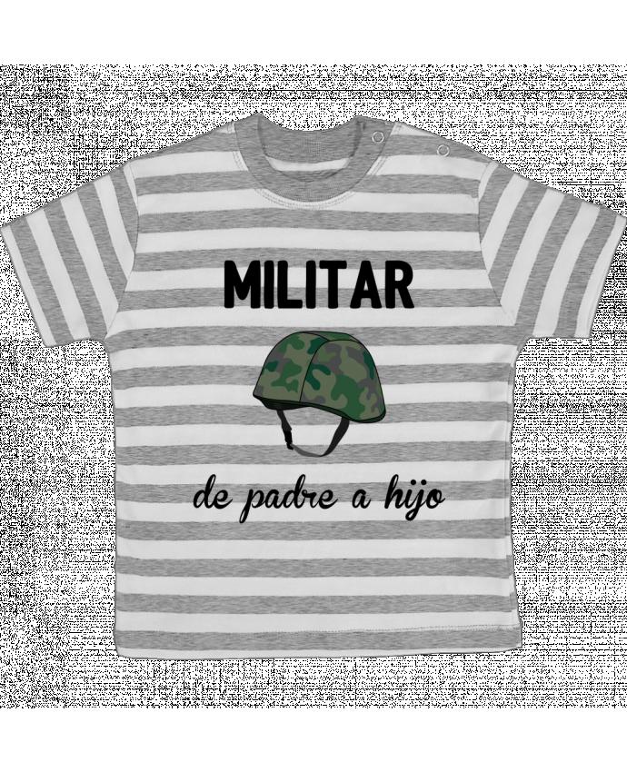 Camiseta Bebé a Rayas Militar de padre a hijo por tunetoo