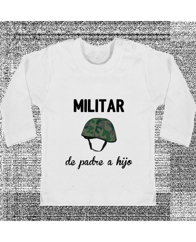 Camiseta Bebé Manga Larga con Botones  Militar de padre a hijo manches longues du designer tunetoo