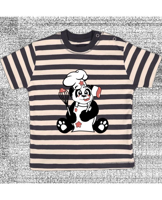 Camiseta Bebé a Rayas Panda Pot'Chef por CoeurDeChoux
