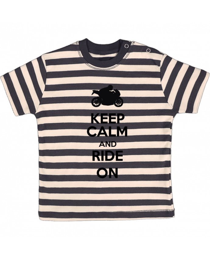 Camiseta Bebé a Rayas Keep calm Moto por Original t-shirt
