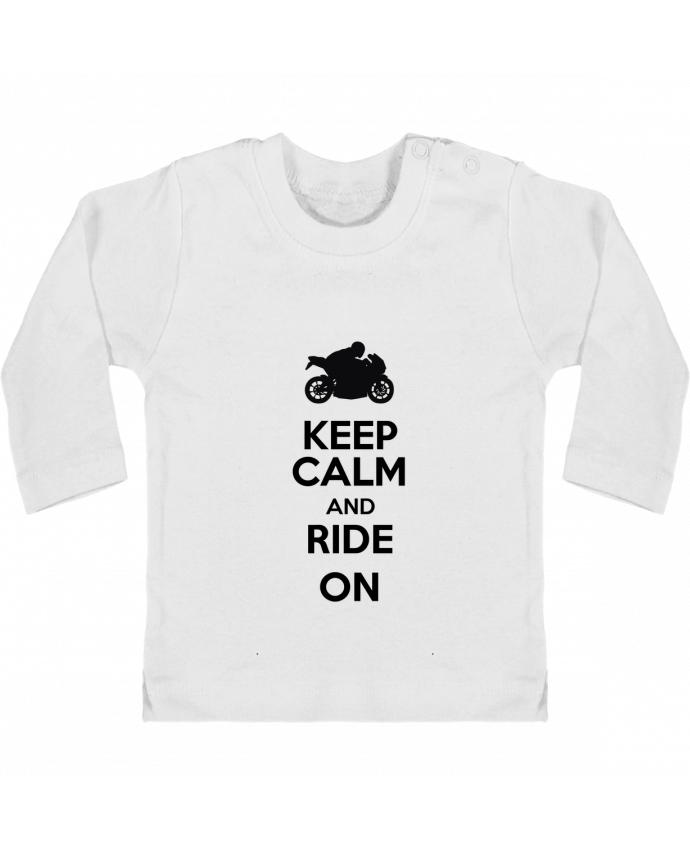 Camiseta Bebé Manga Larga con Botones  Keep calm Moto manches longues du designer Original t-shirt