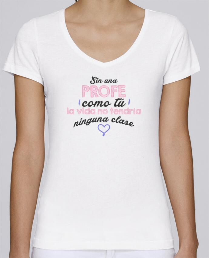 Camiseta Mujer Cuello en V Stella Chooses Regalo profesores profe por tunetoo