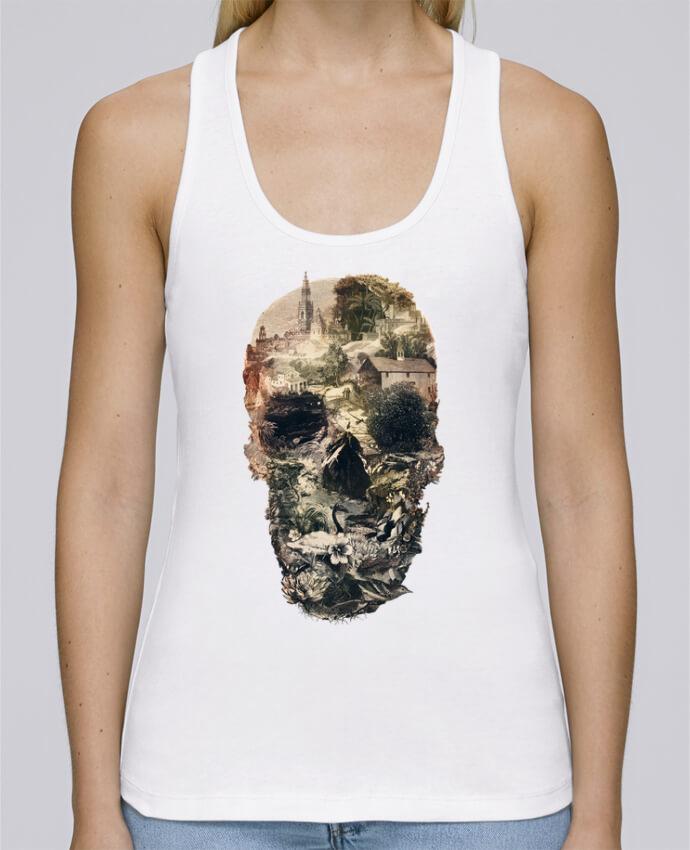 Camiseta de tirantes algodón orgánico mujer Stella Dreams Skull town por ali_gulec en coton Bio
