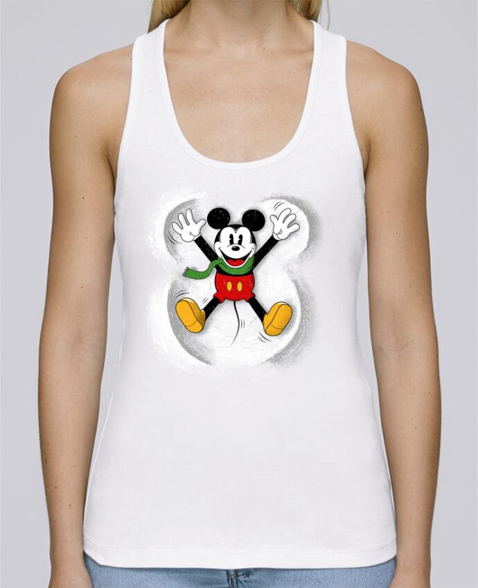 Camiseta de tirantes algodón orgánico mujer Stella Dreams Mickey in snow por Florent Bodart en coton Bio