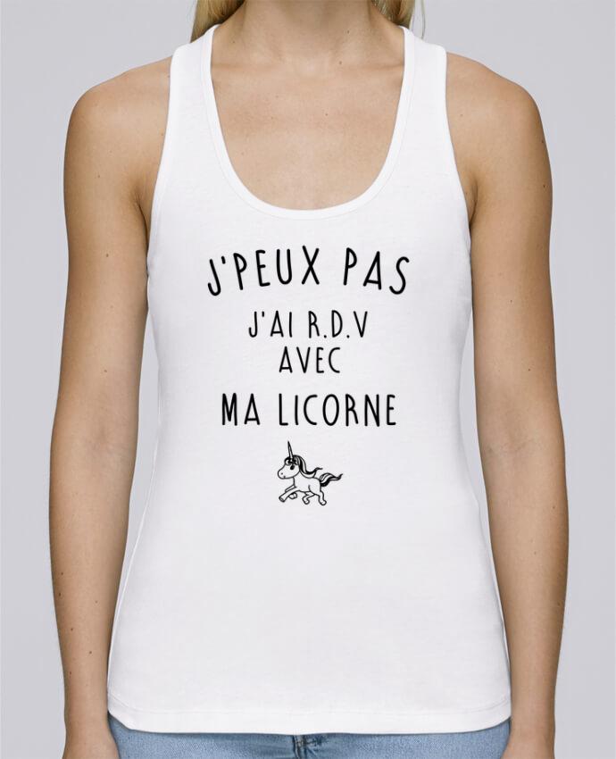 Camiseta de tirantes algodón orgánico mujer Stella Dreams J'peux pas j'ai r.d.v avec ma licorne por LPMDL en coton Bio